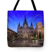 Angels Flying In Front Of The Cathedral Of The Holy Cross And Sa Tote Bag