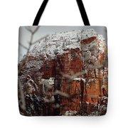 Angels Landing Under Snow Tote Bag