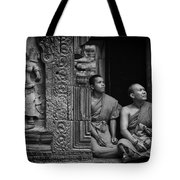 Angkok Wat Buddhist Monks Gather Tote Bag
