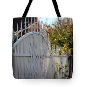 Angled Closeup Of White Washed Iron Gate To Garden Tote Bag