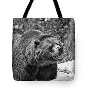 Angry Bear Black And White Tote Bag