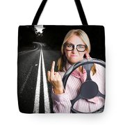 Angry Business Woman Expressing Road Rage Tote Bag