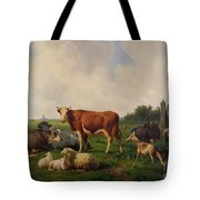 Animals Grazing In A Meadow  Tote Bag by Hendrikus van de Sende Baachyssun