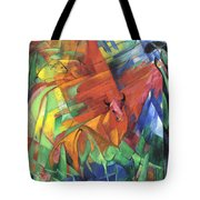 Animals In Landscape Red And Yellow Bulls Resting Tote Bag