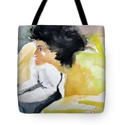Ann Watching Tv Tote Bag