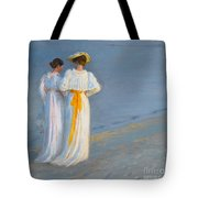 Anna Ancher And Marie Kroyer On The Beach At Skagen Tote Bag