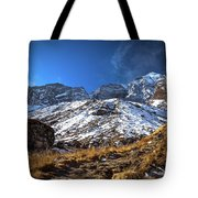 Annapurna Trail With Snow Mountain Background In Nepal Tote Bag