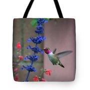 Anna's Hummingbird Feasting At Blue Salvia Tote Bag