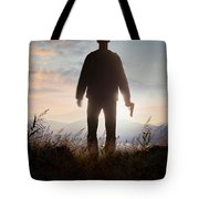 Anonymous Man In Silhouette Holding A Gun Tote Bag
