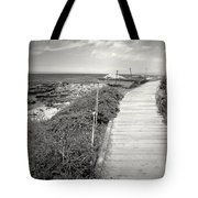Another Asilomar Beach Boardwalk Black And White Tote Bag