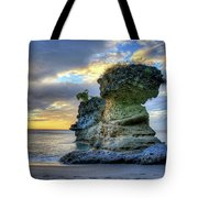 Anse Mamin Rock Formation At Sunset Saint Lucia Caribbean Sunset Tote Bag
