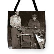 Anthracite Coal Artist  Charles Edgar Patience On Right  1906-1972 In Studio 1953    Tote Bag