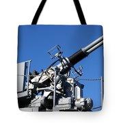 Anti Aircraft Turret Defense Guns On A Navy Ship Tote Bag