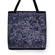 Antique French Pocket Map Of Paris Blueprint Style Tote Bag