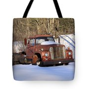 Antique Grungy Truck In Snow Tote Bag