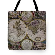Antique Map Exotic Colorful Tote Bag