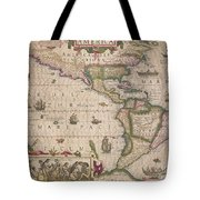 Antique Map Of America Tote Bag