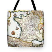 Antique Map Of France Tote Bag