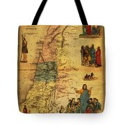 Antique Map Of Palestine 1856 On Worn Parchment Tote Bag