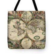 Antique Map Of The World - 1689 Tote Bag