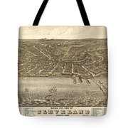 Antique Maps - Old Cartographic Maps - Antique Birds Eye View Map Of Cleveland, Ohio, 1877 Tote Bag