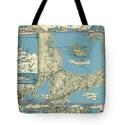Antique Maps - Old Cartographic Maps - Antique Map Of Cape Cod, Massachusetts, 1945 Tote Bag