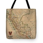 Antique Maps - Old Cartographic Maps - Antique Map Of Peru, South America, 1913 Tote Bag