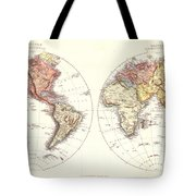 Antique Maps - Old Cartographic Maps - Antique Map Of The Eastern And Western Hemisphere, 1850 Tote Bag