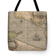 Antique Maps - Old Cartographic Maps - Antique Map Of The Pacific Ocean - Mar Del Zur, 1589 Tote Bag