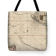 Antique Maps - Old Cartographic Maps - Antique Map Of The Strait Of Magellan, South America, 1650 Tote Bag