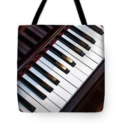 Antique Piano Keys From Above With Hardwood Floor Tote Bag