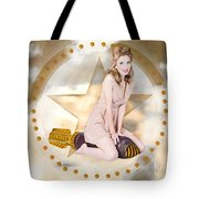 Antique Pin-up Girl On Missile. Bombshell Blond Tote Bag