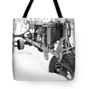 Antique Steel Wheel Tractor Black And White Tote Bag