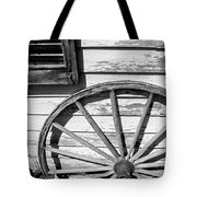 Antique Wagon Wheel In Black And White Tote Bag