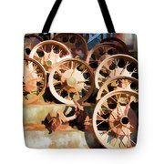 Antique Wagon Wheels And Baskets Tote Bag