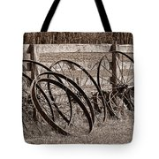 Antique Wagon Wheels I Tote Bag by Tom Mc Nemar