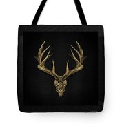 Antlered Skulls - Gold Deer Skull X-ray Over Black Canvas No.1 Tote Bag