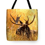Antlers In The Golden Grass Tote Bag