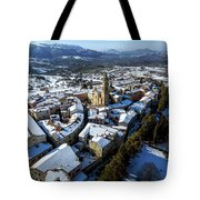 Apiro Italy In The Snow - Aerial Image. Tote Bag
