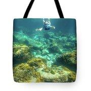 Apnea In Tropical Sea Tote Bag