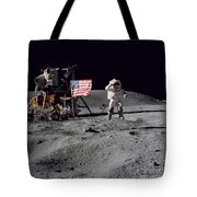 Apollo 16 Astronaut Leaps Tote Bag by Stocktrek Images