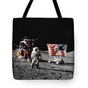 Apollo 17 Astronaut Stands Tote Bag