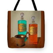 Apothecary Bottles And Brass Pestle And Mortar Tote Bag