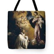 Apparition Of The Virgin To Saint Bernardo  Tote Bag