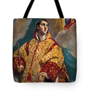 Apparition Of The Virgin To St Lawrence Tote Bag