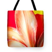 Apple Amaryllis Red Apple Amaryllis On A Pink And Yellow Background Tote Bag