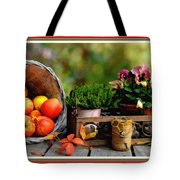 Apple Basket And Other Objects Still Life L B With Alt. Decorative Ornate Printed Frame. Tote Bag