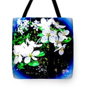 Apple Blossoms In Blue White Mist Tote Bag