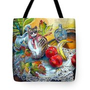 Apple Cat Tote Bag