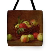 Apples In A Basket And On A Table Tote Bag by Ignace Henri Jean Fantin-Latour